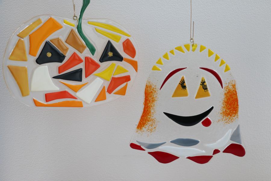 Animation enfant halloween au Cerfav verre fusing citrouille fantome