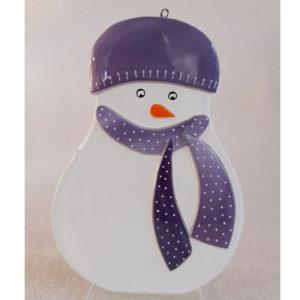 bonhomme neige verre suspendre violet