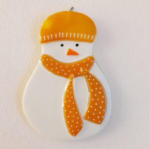 bonhomme neige verre suspendre orange