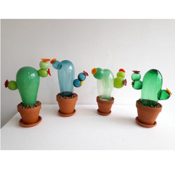 Cactus en verre soufflé à la canne