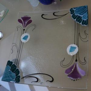 plat carré en verre style art déco