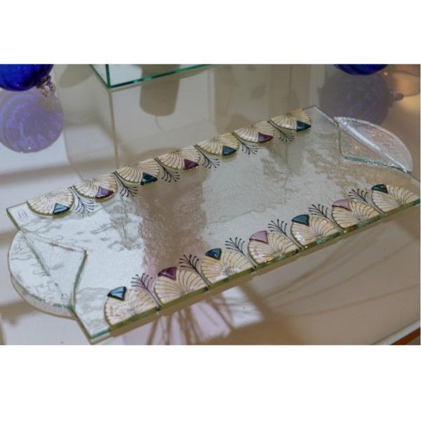 plat à cake en verre style art déco