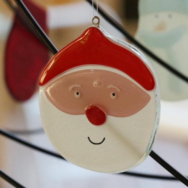 Tête de père Noël en verre à suspendre dans le sapin vendu en ligne