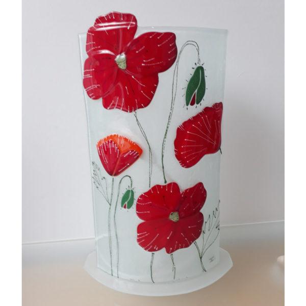 lampe en verre rouge coquelicot