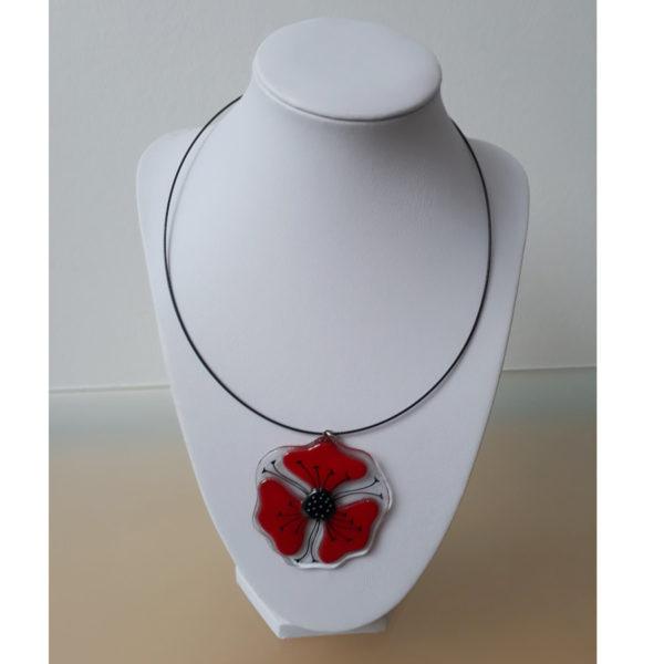 pendentif en verre motif coquelicot rouge fait main