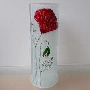 en verre motif rouge coquelicot fait main