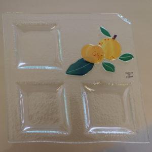 mirabelle assiette à compartiment en verre