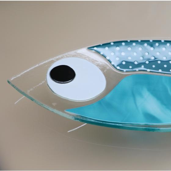 coupelle poisson en verre turquoise collection paques