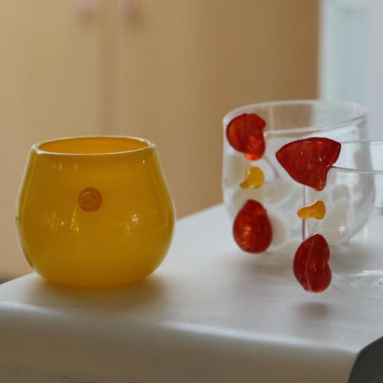gobelet poussin jaune en verre soufflé, collection pâques