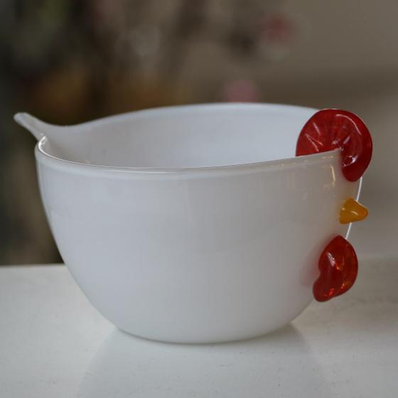 bol poule blanc en verre collection paques