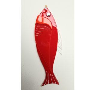 poisson rouge en verre fusing à suspendre paques